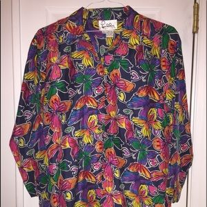 Lilly Pulitzer Tops - Rare Lilly Pulitzer sz 10 butterfly silk blouse